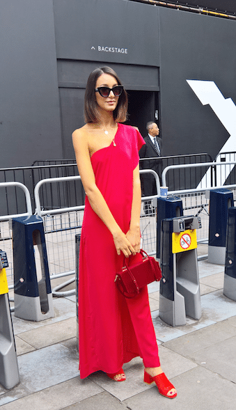 red dress street style london fashion week