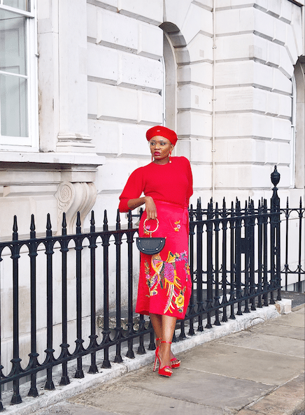 red outfit street style london fashion week