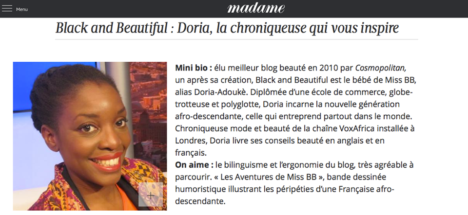madame le figaro Doria-Adouke black and beautiful