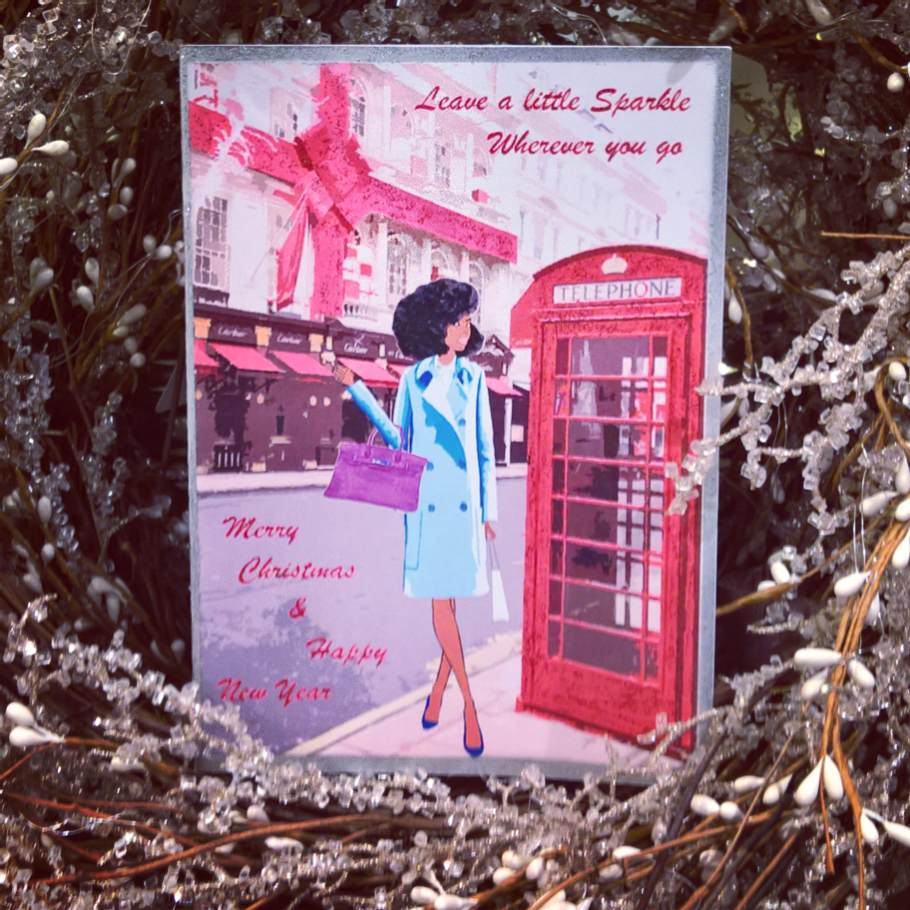 """Simply Chic"", is one of the best selling #Christmascards, representing a classy #blackwoman with #twistout posing in front of #Cartier Shop in #London. Available in my shop: Link in my bio #blackwomen #afrohair #fashion #instafashion #fashionillustration #illustration #bluecoat #blackchristmascards #blackwomanart #blackwomanmagic"