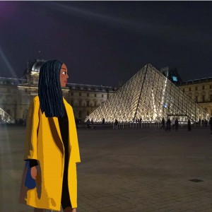 Outside museedulouvre in Paris coat by tarajarmon ootd yellowcoat wintercoathellip