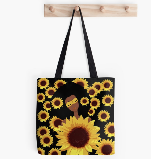 Tote with sunflower