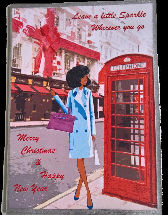 Chic Black Woman Christmas card
