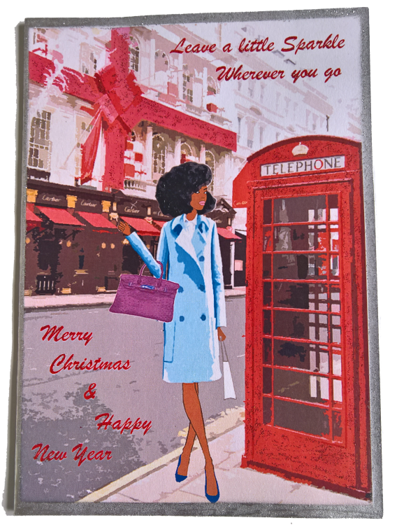 Chic Black Woman Christmas card
