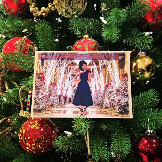 back girl handcrafted christmas card