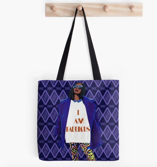 i am fabulous purple print tote bag