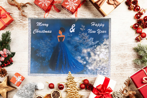 black-princess-christmas-cards