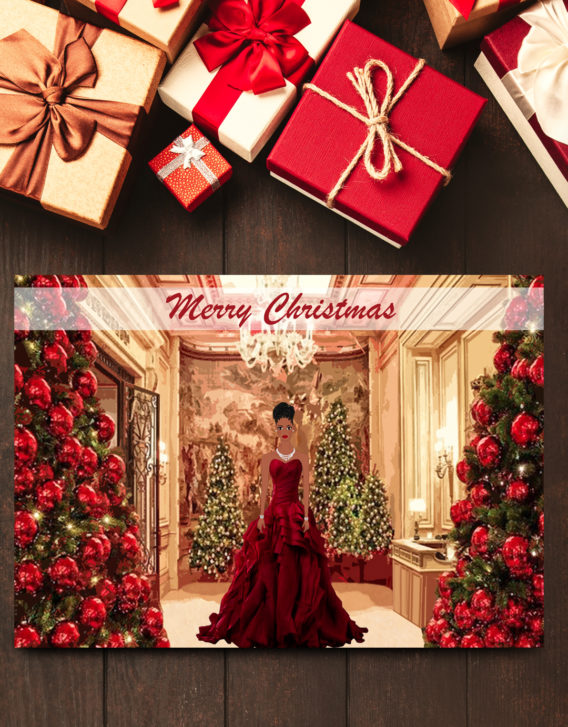 African American Cinderella Christmas Card