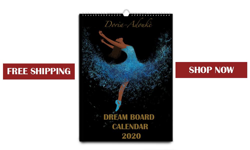 banner black art calendar