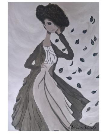 baroque afro girl art print